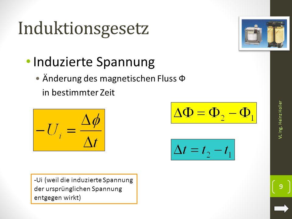Induktionsgesetz Induzierte Spannung Änderung des magnetischen Fluss Ф in bestimmter Zeit 9 VL Ing. Heinz Holler -Ui (weil die induzierte Spannung der