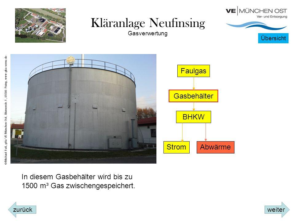 Kläranlage Neufinsing Faulgas Gasbehälter BHKW StromAbwärme In diesem Gasbehälter wird bis zu 1500 m³ Gas zwischengespeichert.