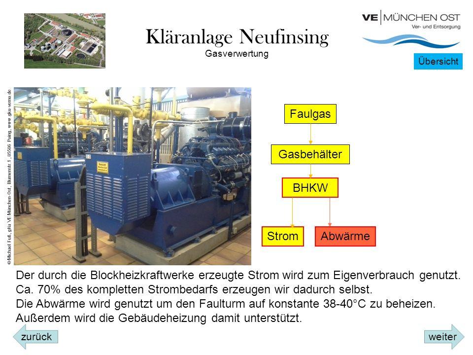 Kläranlage Neufinsing Faulgas Gasbehälter BHKW StromAbwärme Der durch die Blockheizkraftwerke erzeugte Strom wird zum Eigenverbrauch genutzt.