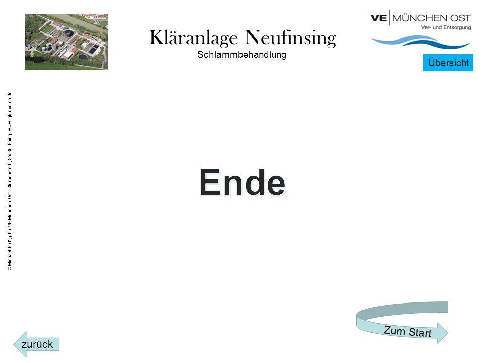 Kläranlage Neufinsing Schlammbehandlung Übersicht zurück Zum Start © Michael Fuß, gKu VE München-Ost, Blumenstr.1, 85586 Poing, www.gku-vemo.de