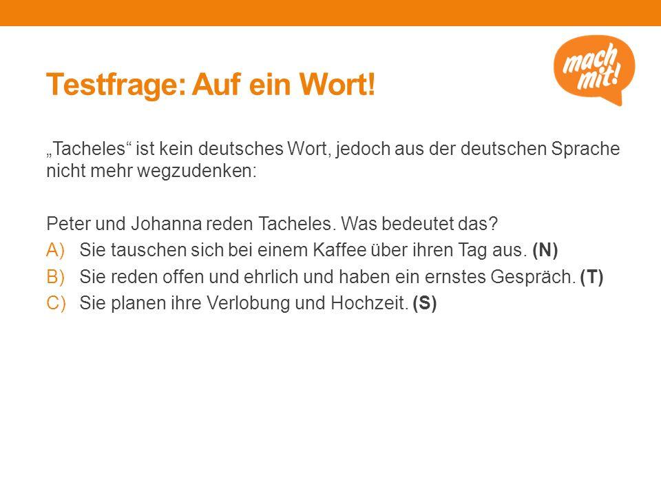 """Testfrage: Auf ein Wort! """"Tacheles"""" ist kein deutsches Wort, jedoch aus der deutschen Sprache nicht mehr wegzudenken: Peter und Johanna reden Tacheles"""