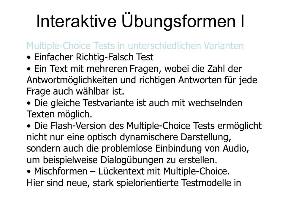 Interaktive Übungsformen II Vorbereitung, die in Flash umgesetzt werden.