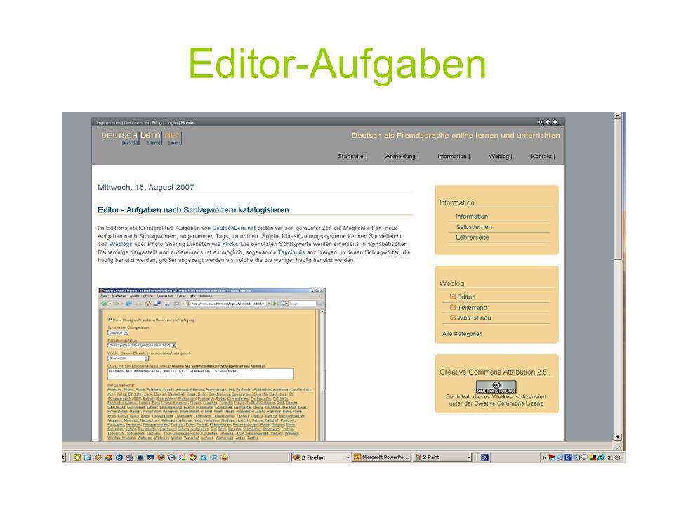 Editor-Aufgaben