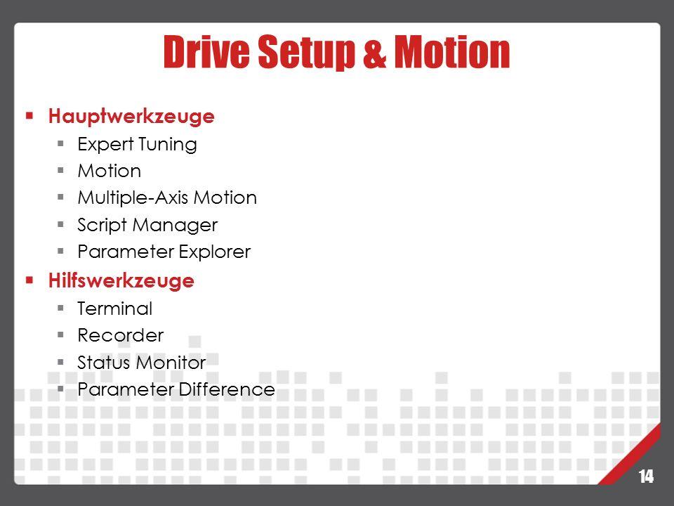14 Drive Setup & Motion Hauptwerkzeuge  Expert Tuning  Motion  Multiple-Axis Motion  Script Manager  Parameter Explorer Hilfswerkzeuge  Terminal