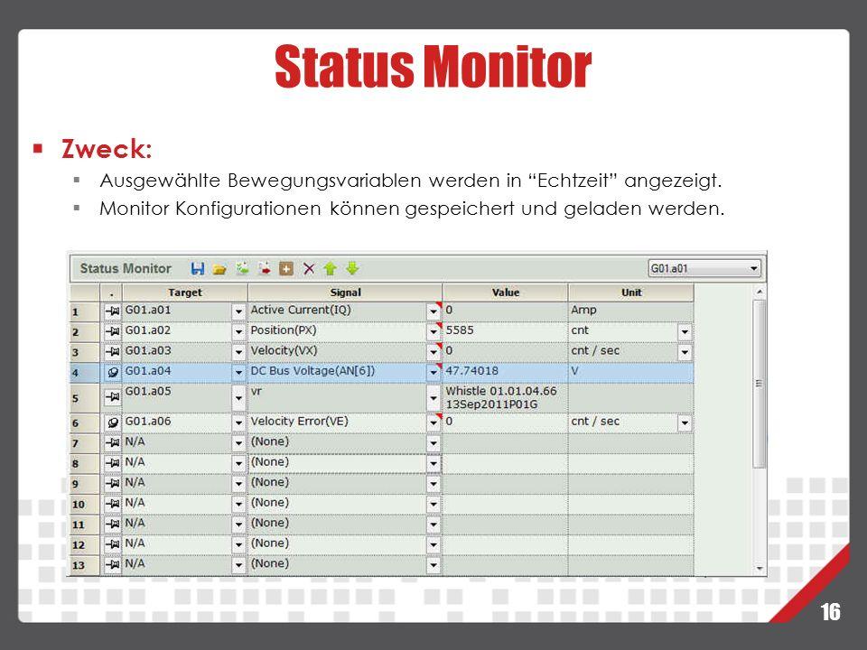 """16 Status Monitor Zweck:  Ausgewählte Bewegungsvariablen werden in """"Echtzeit"""" angezeigt.  Monitor Konfigurationen können gespeichert und geladen wer"""