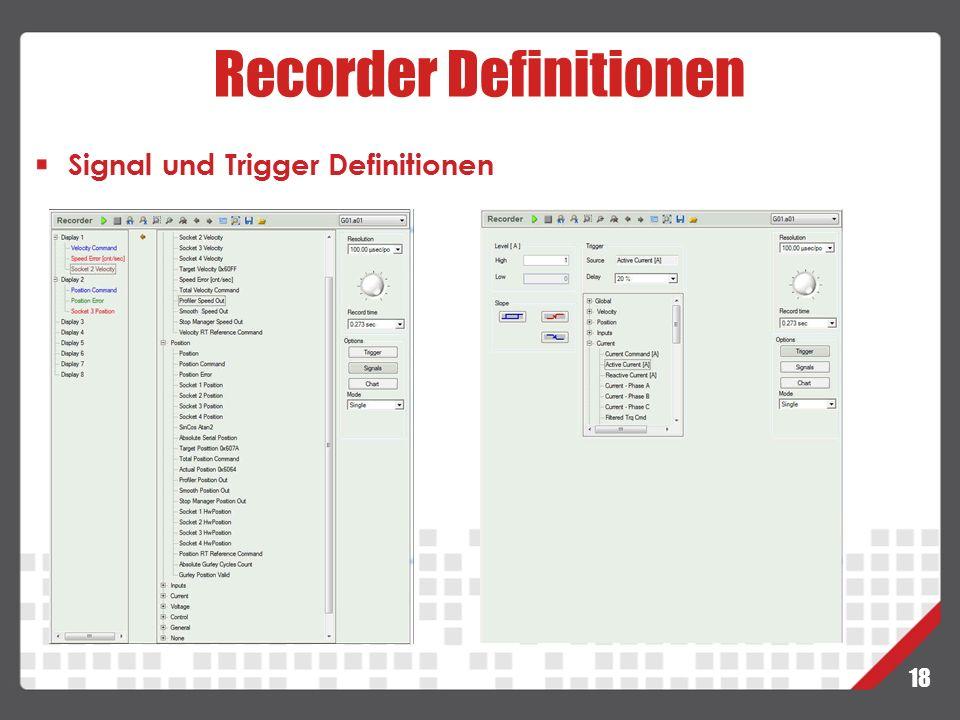 18 Recorder Definitionen Signal und Trigger Definitionen