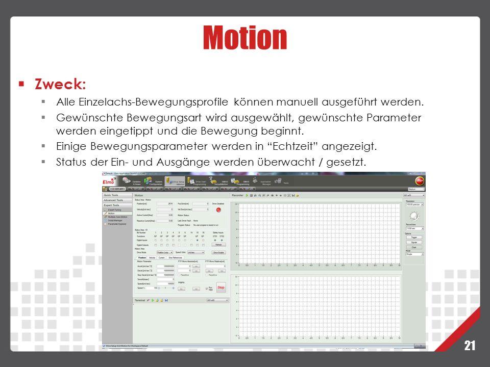21 Motion Zweck:  Alle Einzelachs-Bewegungsprofile können manuell ausgeführt werden.  Gewünschte Bewegungsart wird ausgewählt, gewünschte Parameter