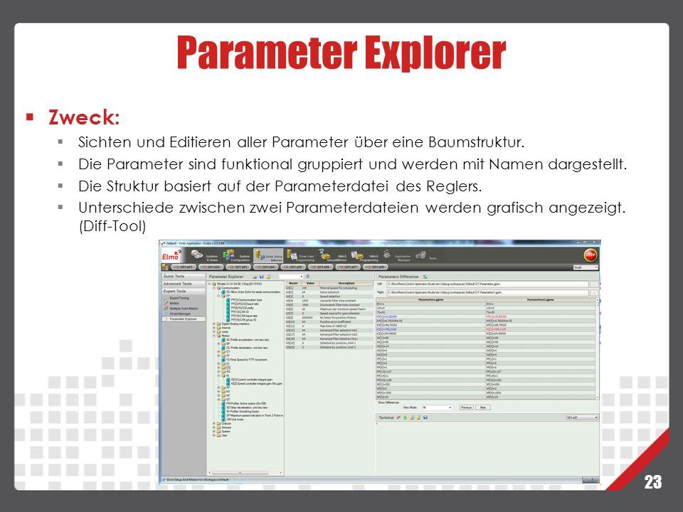 23 Parameter Explorer Zweck:  Sichten und Editieren aller Parameter über eine Baumstruktur.  Die Parameter sind funktional gruppiert und werden mit