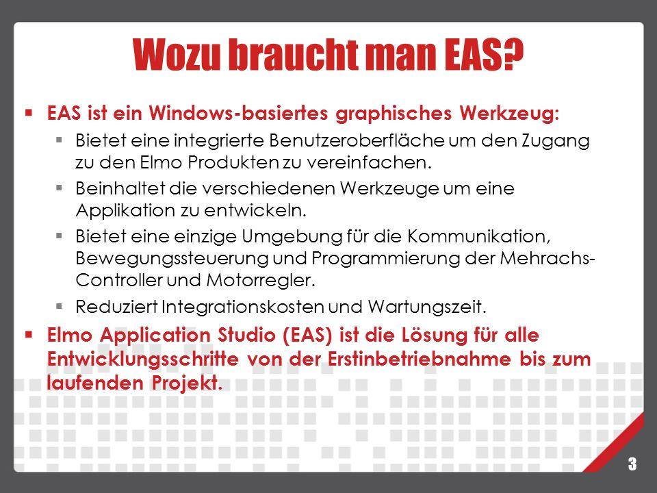 3 EAS ist ein Windows-basiertes graphisches Werkzeug:  Bietet eine integrierte Benutzeroberfläche um den Zugang zu den Elmo Produkten zu vereinfachen