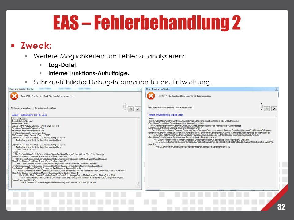 32 EAS – Fehlerbehandlung 2 Zweck:  Weitere Möglichkeiten um Fehler zu analysieren:  Log-Datei.  Interne Funktions-Aufruffolge.  Sehr ausführliche