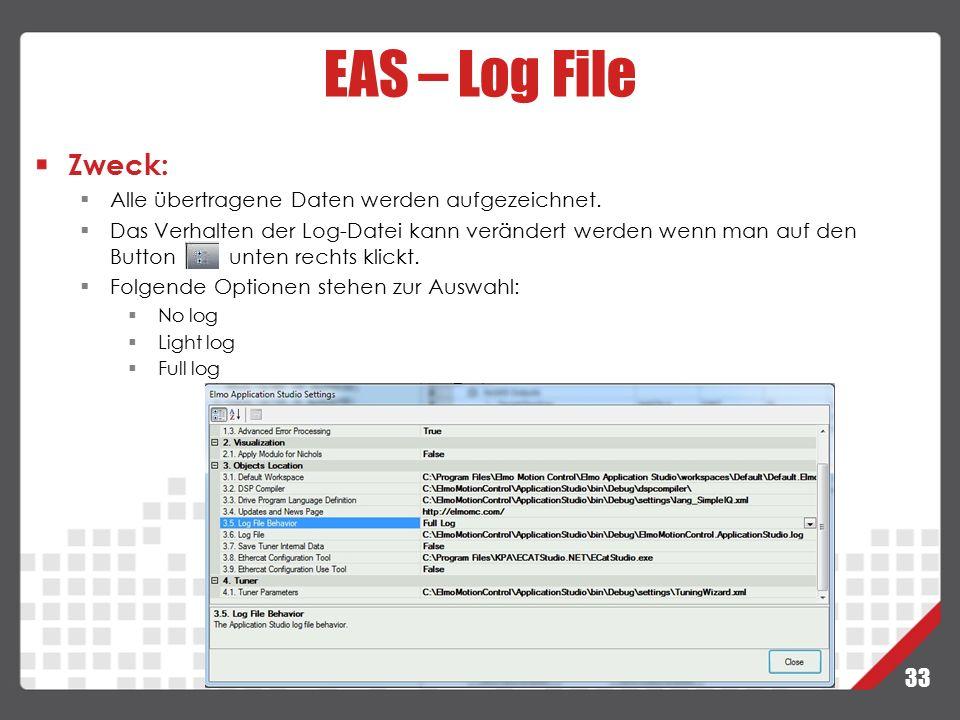 33 EAS – Log File Zweck:  Alle übertragene Daten werden aufgezeichnet.  Das Verhalten der Log-Datei kann verändert werden wenn man auf den Button un