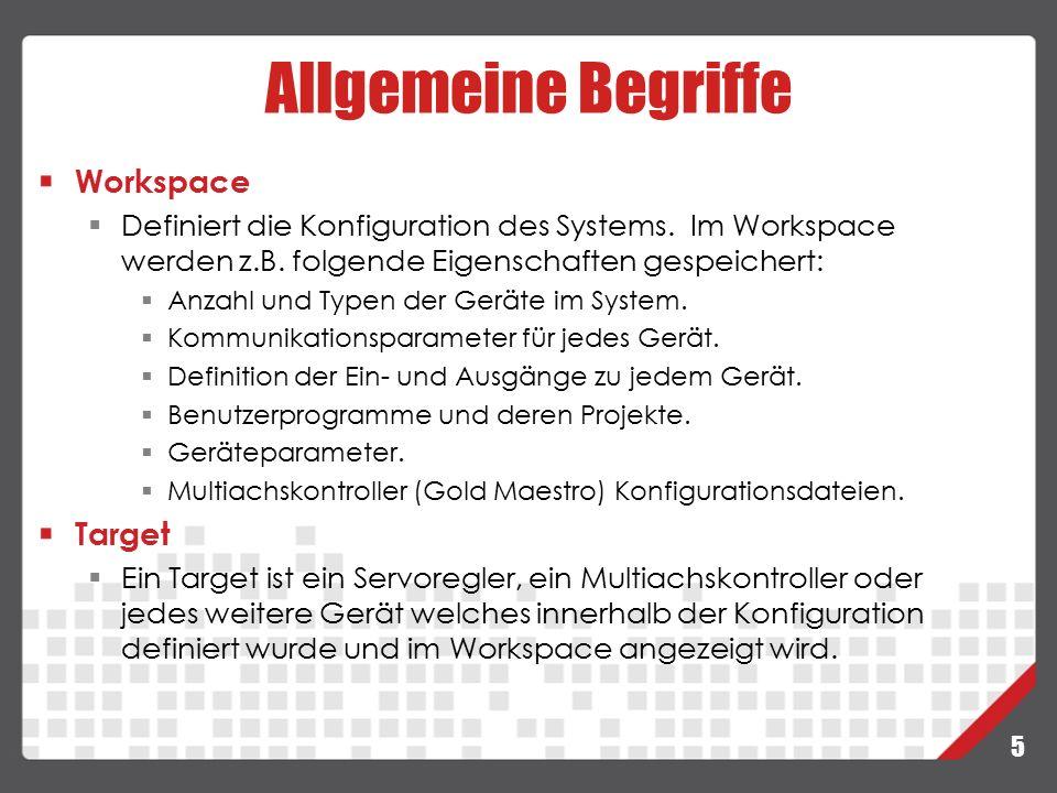 5 Workspace  Definiert die Konfiguration des Systems. Im Workspace werden z.B. folgende Eigenschaften gespeichert:  Anzahl und Typen der Geräte im S