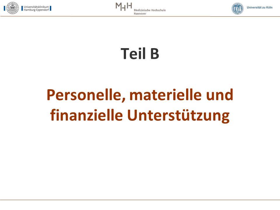 Teil B Personelle, materielle und finanzielle Unterstützung