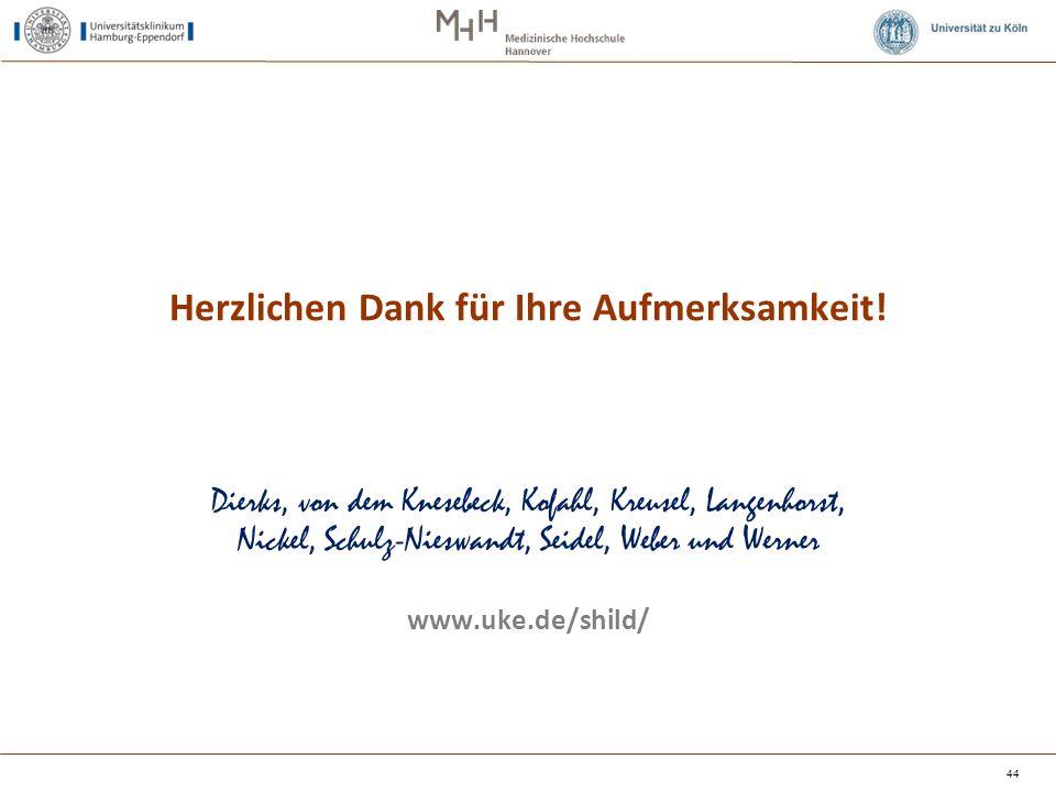 44 Dierks, von dem Knesebeck, Kofahl, Kreusel, Langenhorst, Nickel, Schulz-Nieswandt, Seidel, Weber und Werner www.uke.de/shild/ Herzlichen Dank für I