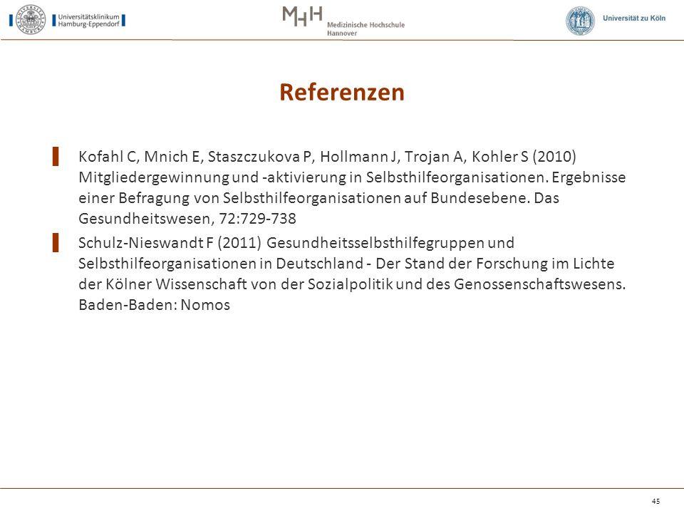 Referenzen ▌ Kofahl C, Mnich E, Staszczukova P, Hollmann J, Trojan A, Kohler S (2010) Mitgliedergewinnung und ‑ aktivierung in Selbsthilfeorganisationen.