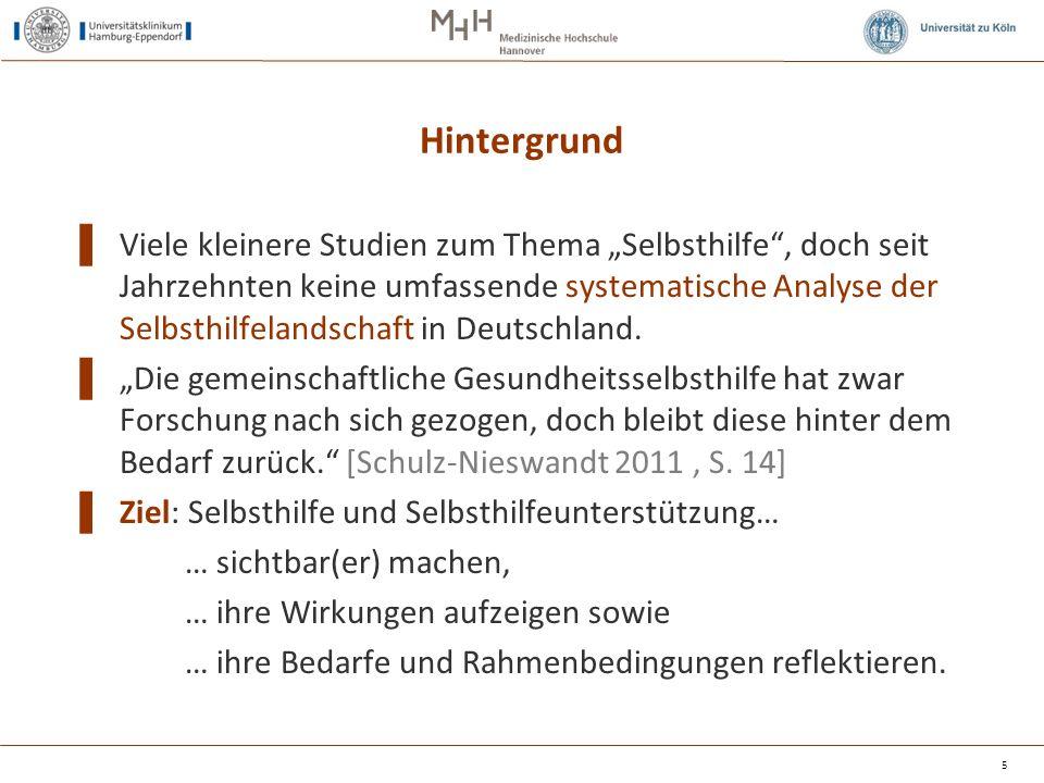 Beteiligte ▌ Konsortium aus drei Universitäten:  Hamburg (UKE – Kofahl, von dem Knesebeck)  Hannover (MHH – Dierks)  Köln (ISS – Schulz-Nieswandt) ▌ Akteure und Vertreter/innen der Selbsthilfe, der Krankenkassen und Wissenschaft (Beirat) 6 …