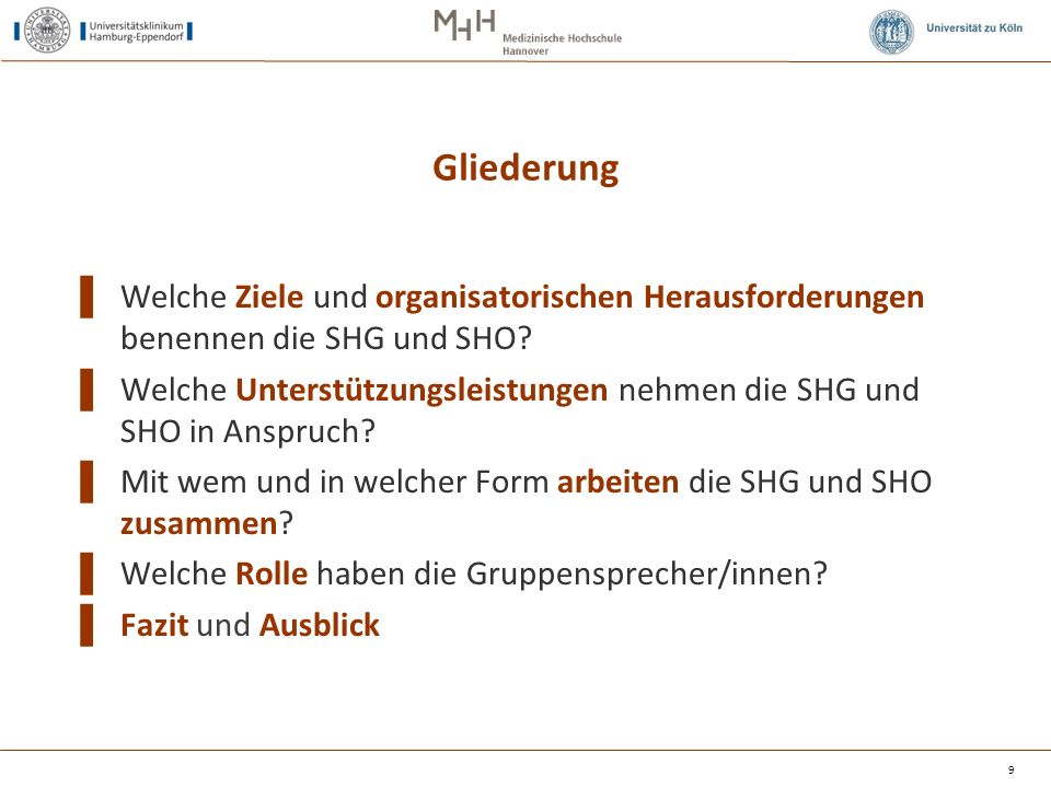 Gliederung ▌ Welche Ziele und organisatorischen Herausforderungen benennen die SHG und SHO? ▌ Welche Unterstützungsleistungen nehmen die SHG und SHO i