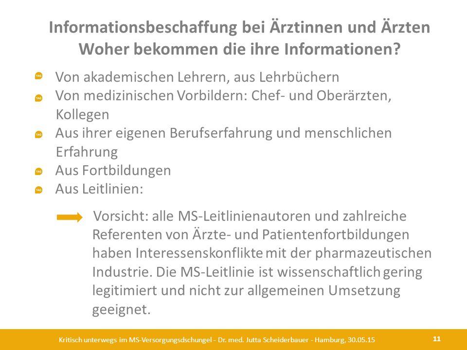 Informationsbeschaffung bei Ärztinnen und Ärzten Woher bekommen die ihre Informationen? 11 Kritisch unterwegs im MS-Versorgungsdschungel - Dr. med. Ju