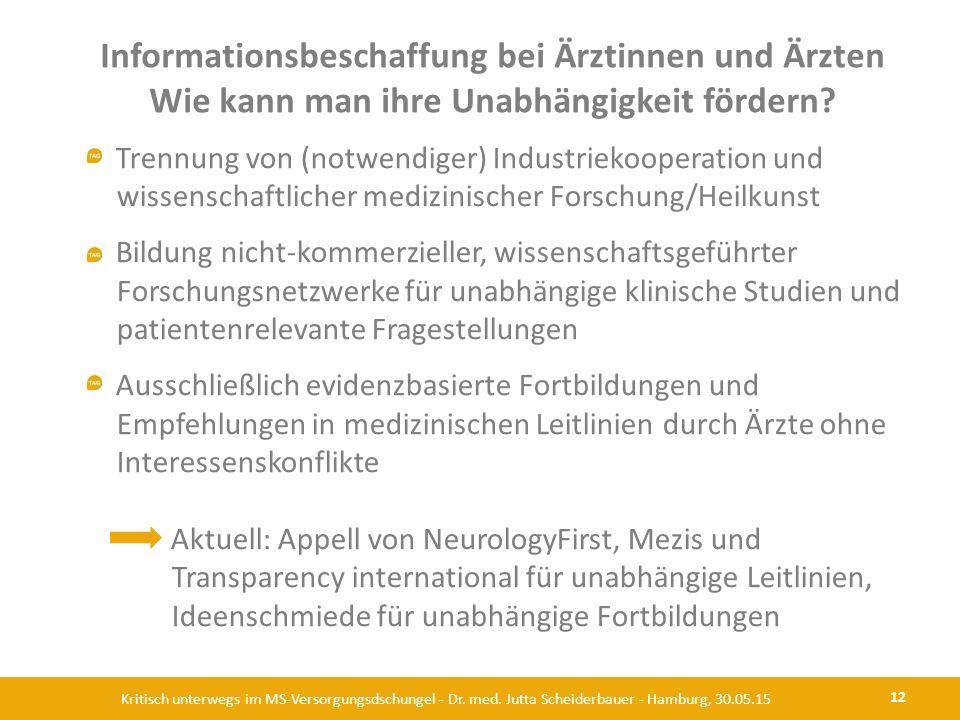 Informationsbeschaffung bei Ärztinnen und Ärzten Wie kann man ihre Unabhängigkeit fördern? 12 Kritisch unterwegs im MS-Versorgungsdschungel - Dr. med.