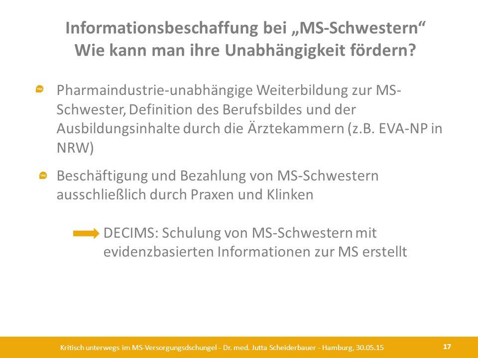 """Informationsbeschaffung bei """"MS-Schwestern"""" Wie kann man ihre Unabhängigkeit fördern? 17 Kritisch unterwegs im MS-Versorgungsdschungel - Dr. med. Jutt"""