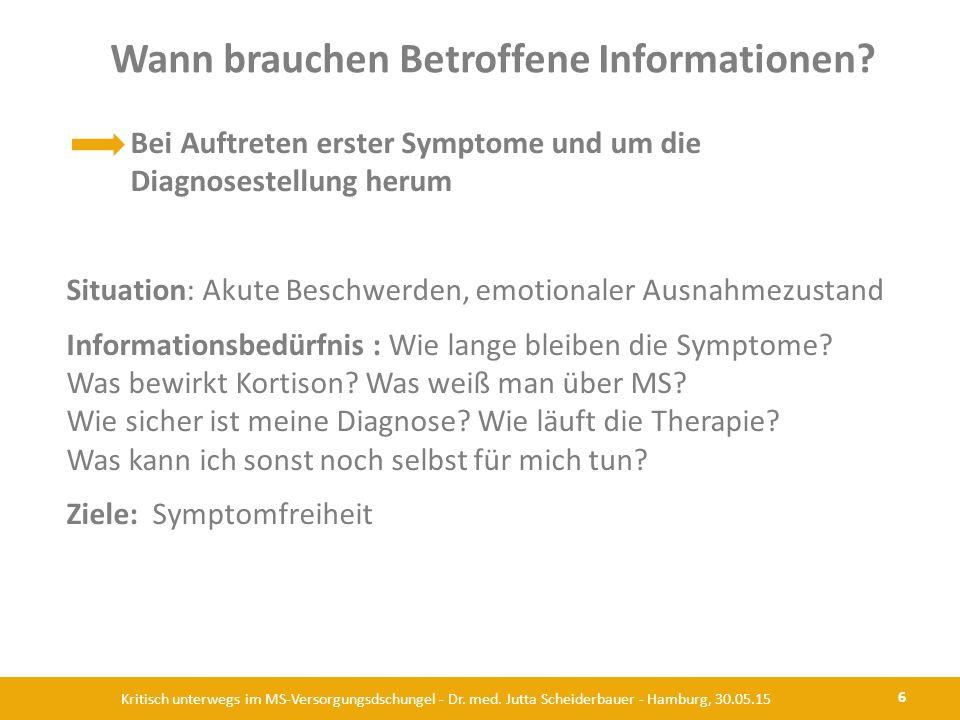 Wann brauchen Betroffene Informationen? 6 Kritisch unterwegs im MS-Versorgungsdschungel - Dr. med. Jutta Scheiderbauer - Hamburg, 30.05.15 Bei Auftret