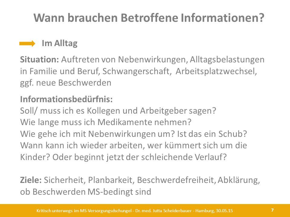Wann brauchen Betroffene Informationen? 7 Kritisch unterwegs im MS-Versorgungsdschungel - Dr. med. Jutta Scheiderbauer - Hamburg, 30.05.15 Im Alltag S