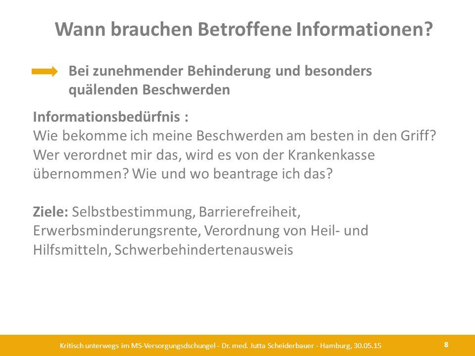 Wann brauchen Betroffene Informationen? 8 Kritisch unterwegs im MS-Versorgungsdschungel - Dr. med. Jutta Scheiderbauer - Hamburg, 30.05.15 Bei zunehme