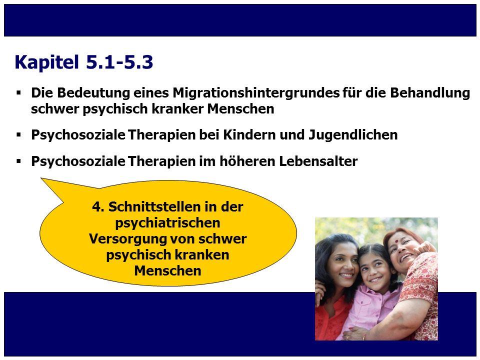  Die Bedeutung eines Migrationshintergrundes für die Behandlung schwer psychisch kranker Menschen  Psychosoziale Therapien bei Kindern und Jugendlic