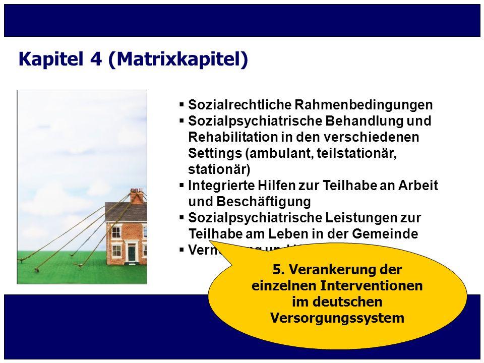  Sozialrechtliche Rahmenbedingungen  Sozialpsychiatrische Behandlung und Rehabilitation in den verschiedenen Settings (ambulant, teilstationär, stat