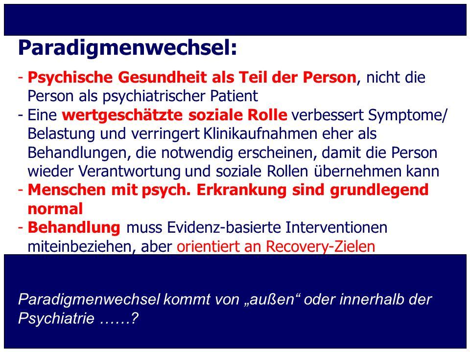 Paradigmenwechsel: -Psychische Gesundheit als Teil der Person, nicht die Person als psychiatrischer Patient -Eine wertgeschätzte soziale Rolle verbess