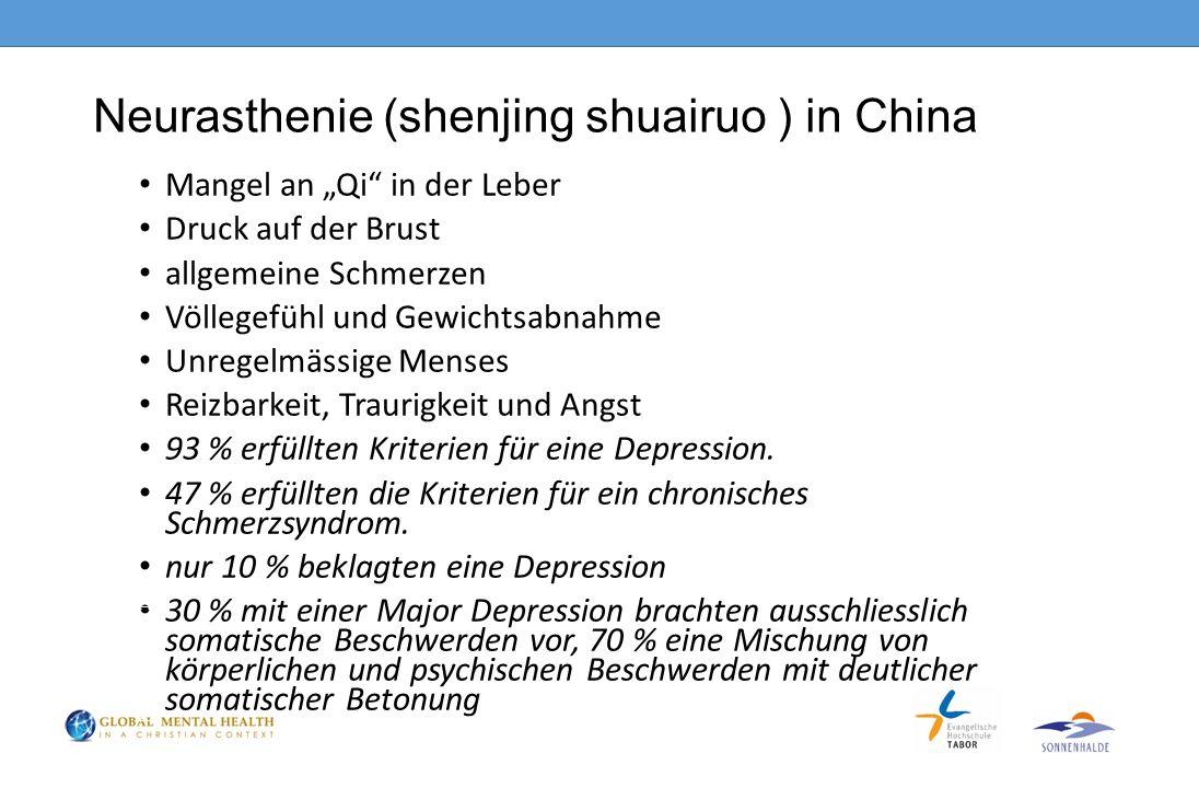 """Neurasthenie (shenjing shuairuo ) in China Mangel an """"Qi in der Leber Druck auf der Brust allgemeine Schmerzen Völlegefühl und Gewichtsabnahme Unregelmässige Menses Reizbarkeit, Traurigkeit und Angst 93 % erfüllten Kriterien für eine Depression."""