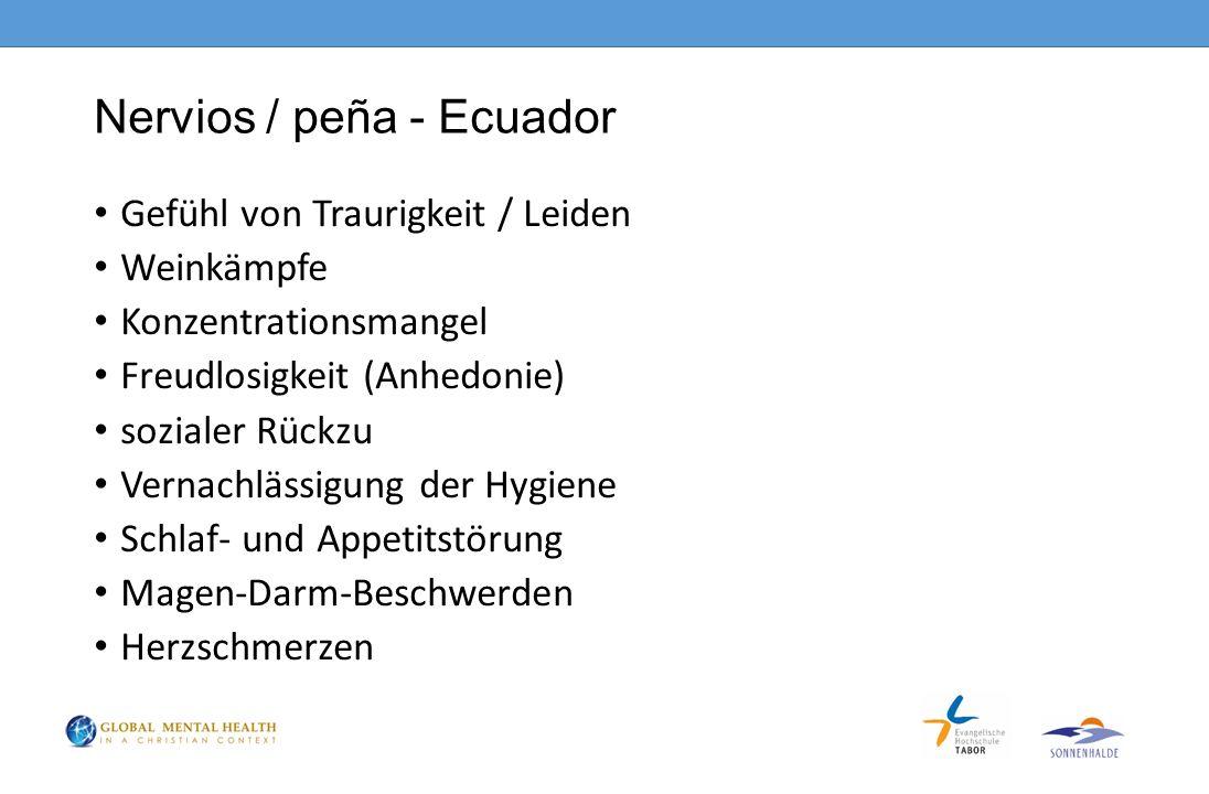 Nervios / peña - Ecuador Gefühl von Traurigkeit / Leiden Weinkämpfe Konzentrationsmangel Freudlosigkeit (Anhedonie) sozialer Rückzu Vernachlässigung der Hygiene Schlaf- und Appetitstörung Magen-Darm-Beschwerden Herzschmerzen