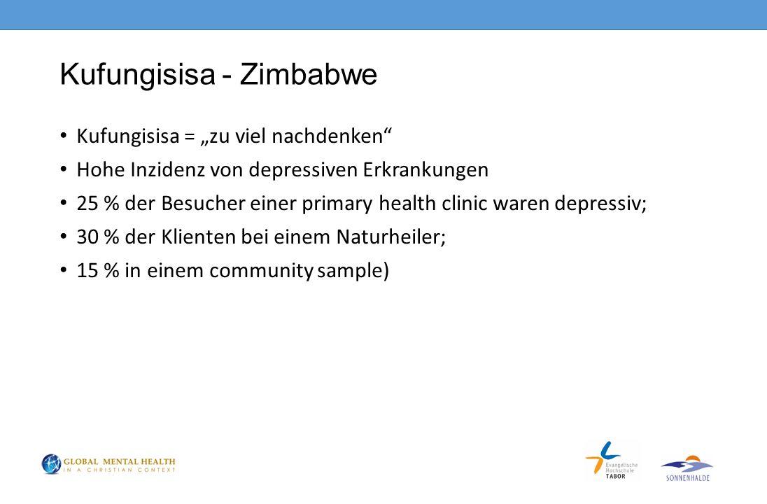 """Kufungisisa - Zimbabwe Kufungisisa = """"zu viel nachdenken Hohe Inzidenz von depressiven Erkrankungen 25 % der Besucher einer primary health clinic waren depressiv; 30 % der Klienten bei einem Naturheiler; 15 % in einem community sample)"""
