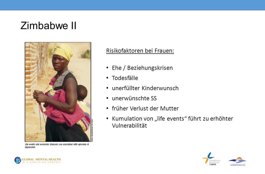 """Zimbabwe II Risikofaktoren bei Frauen: Ehe / Beziehungskrisen Todesfälle unerfüllter Kinderwunsch unerwünschte SS früher Verlust der Mutter Kumulation von """"life events führt zu erhöhter Vulnerabilität"""