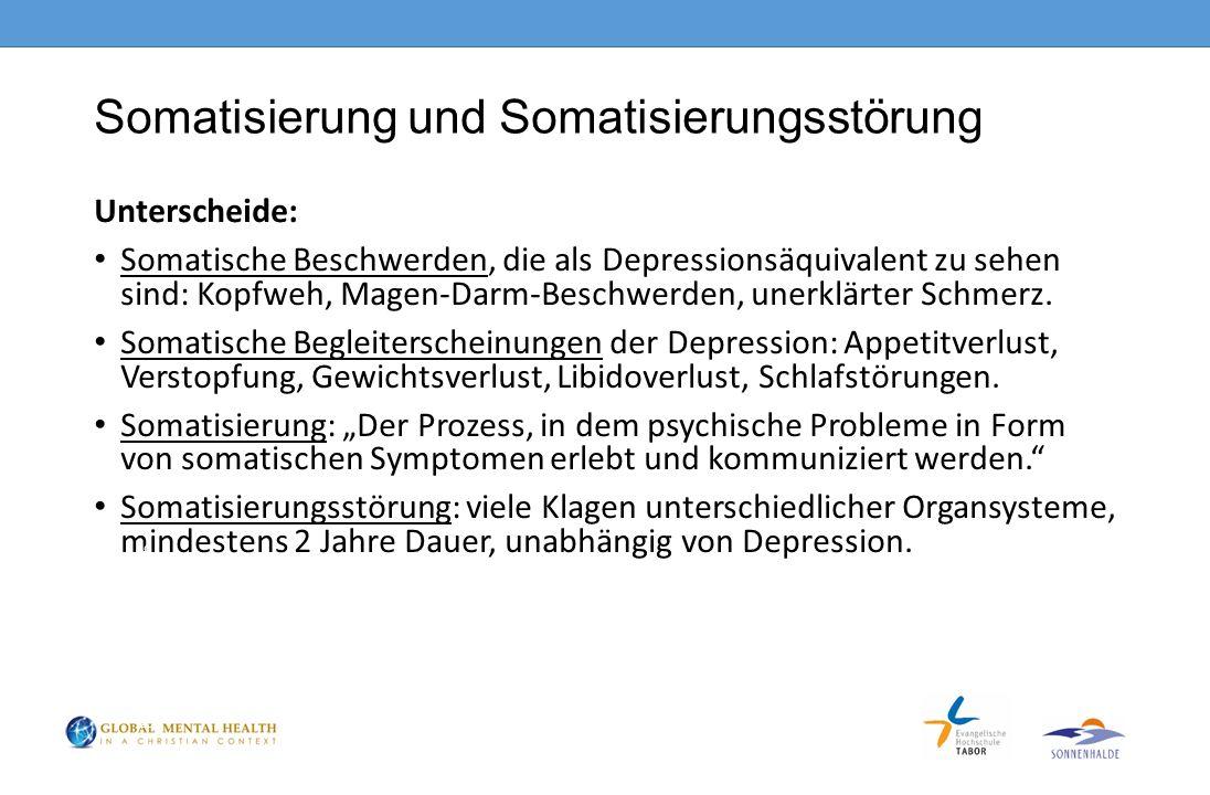 Somatisierung und Somatisierungsstörung Unterscheide: Somatische Beschwerden, die als Depressionsäquivalent zu sehen sind: Kopfweh, Magen-Darm-Beschwerden, unerklärter Schmerz.