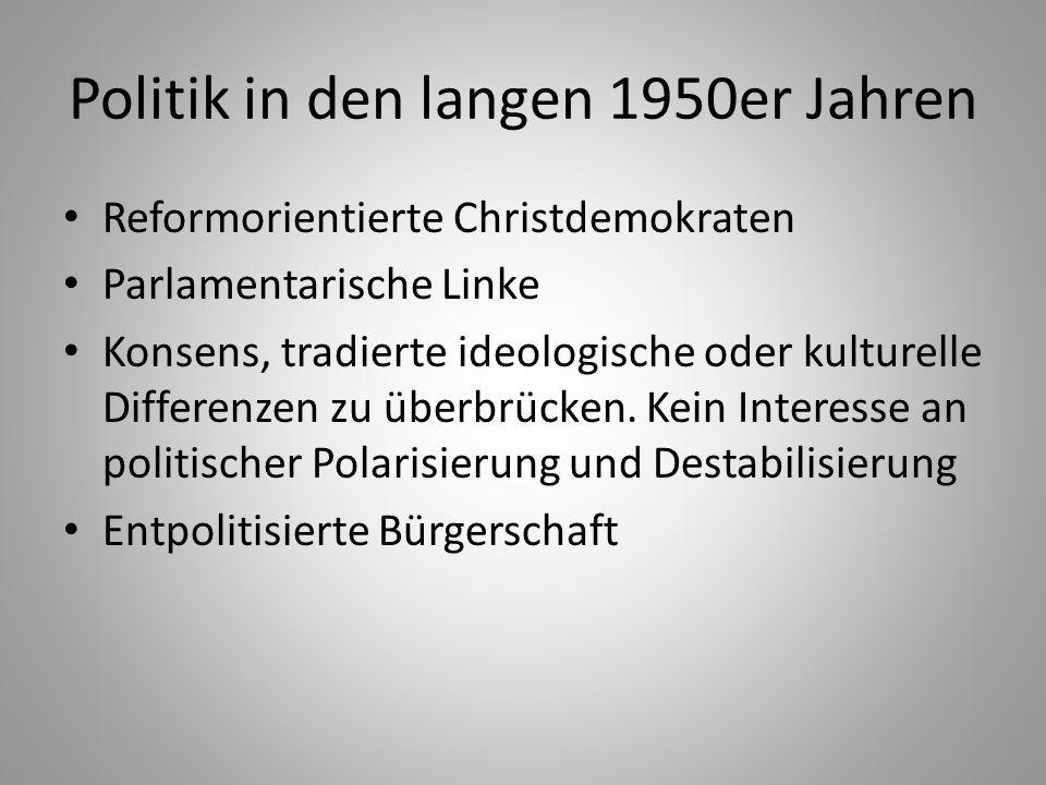 Bundesrepublik Deutschland Zuschnitt und Kompetenzen der Institutionen in bewußter Abkehr von Weimar Föderalismus und Kanzlerdemokratie De facto Korporatismus Christdemokraten: Deutungshoheit in Sachfragen Sozialdemokraten: lösen sich erst 1959 von Karl