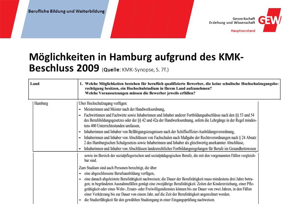 Gewerkschaft Erziehung und Wissenschaft Hauptvorstand Berufliche Bildung und Weiterbildung Möglichkeiten in Hamburg aufgrund des KMK- Beschluss 2009 (
