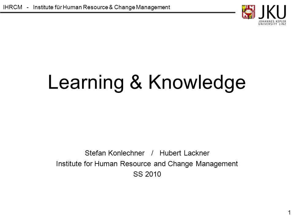 IHRCM - Institute für Human Resource & Change Management Learning & Knowledge Stefan Konlechner / Hubert Lackner Institute for Human Resource and Chan
