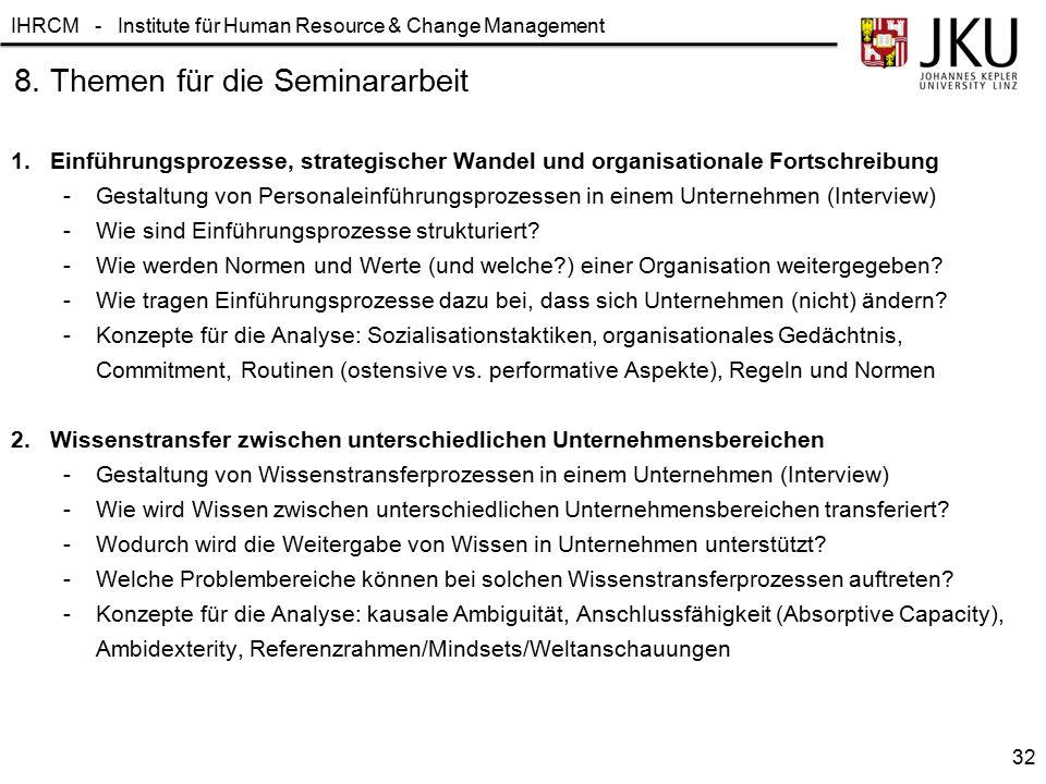IHRCM - Institute für Human Resource & Change Management 1. Einführungsprozesse, strategischer Wandel und organisationale Fortschreibung -Gestaltung v