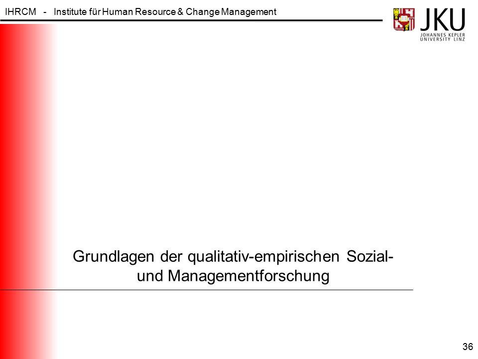 IHRCM - Institute für Human Resource & Change Management Grundlagen der qualitativ-empirischen Sozial- und Managementforschung 36