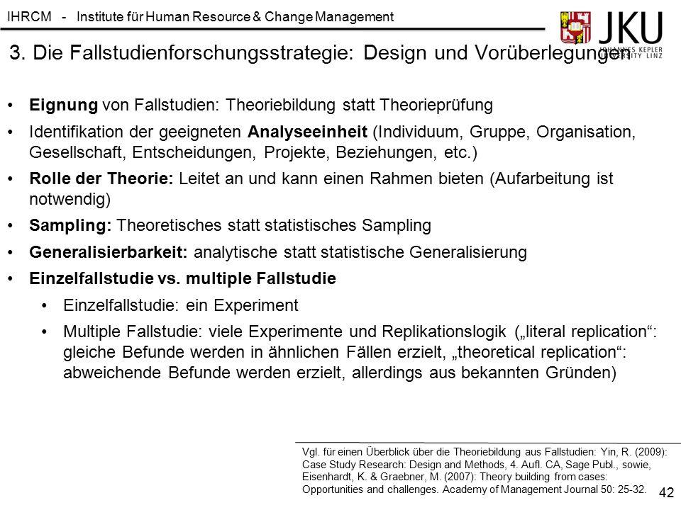 IHRCM - Institute für Human Resource & Change Management 3. Die Fallstudienforschungsstrategie: Design und Vorüberlegungen Eignung von Fallstudien: Th