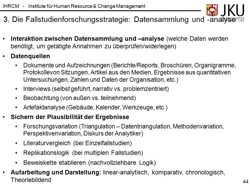 IHRCM - Institute für Human Resource & Change Management 3. Die Fallstudienforschungsstrategie: Datensammlung und -analyse Interaktion zwischen Datens