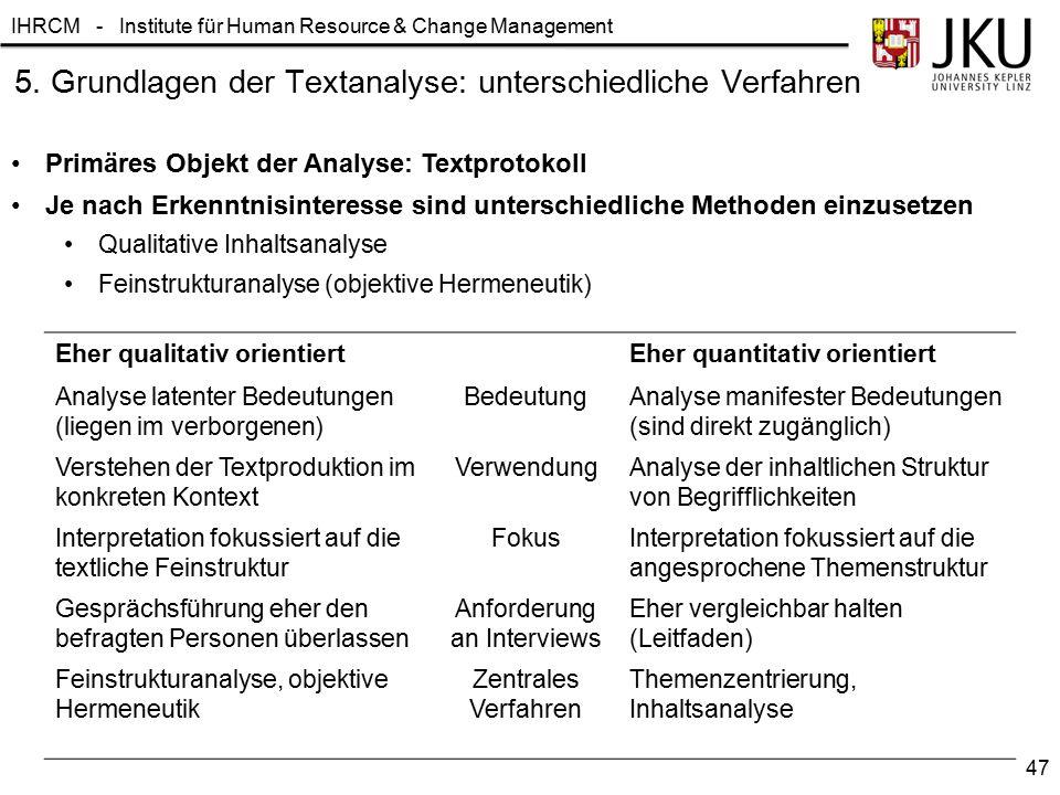 IHRCM - Institute für Human Resource & Change Management 5. Grundlagen der Textanalyse: unterschiedliche Verfahren Primäres Objekt der Analyse: Textpr