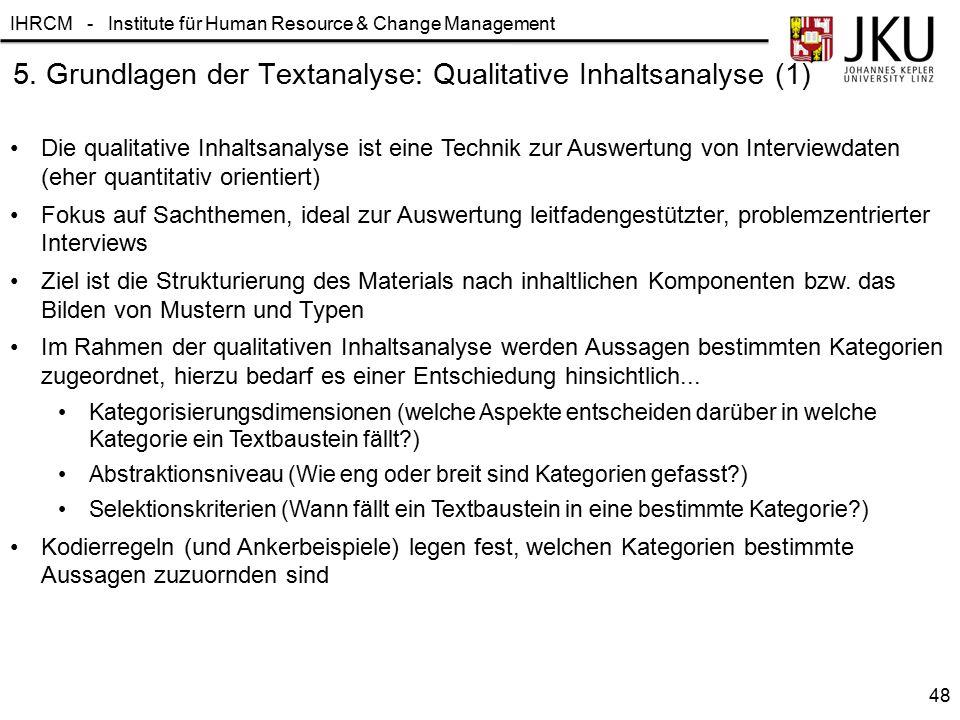 IHRCM - Institute für Human Resource & Change Management 5. Grundlagen der Textanalyse: Qualitative Inhaltsanalyse (1) Die qualitative Inhaltsanalyse