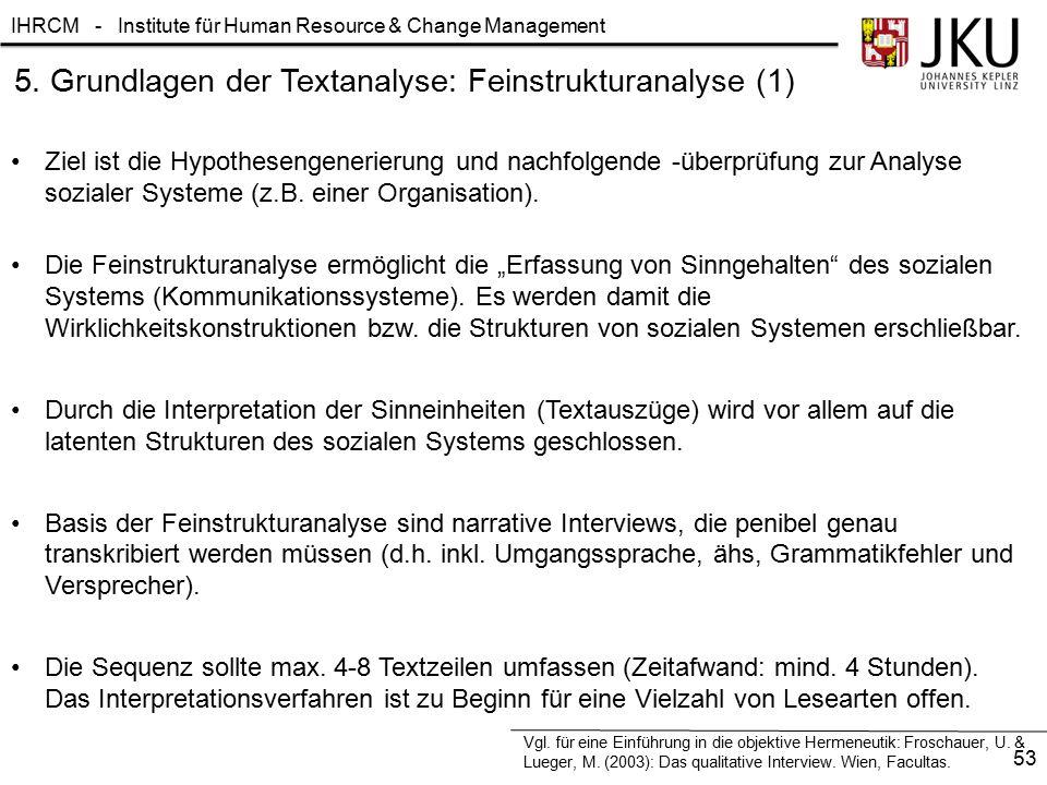 IHRCM - Institute für Human Resource & Change Management 5. Grundlagen der Textanalyse: Feinstrukturanalyse (1) Ziel ist die Hypothesengenerierung und