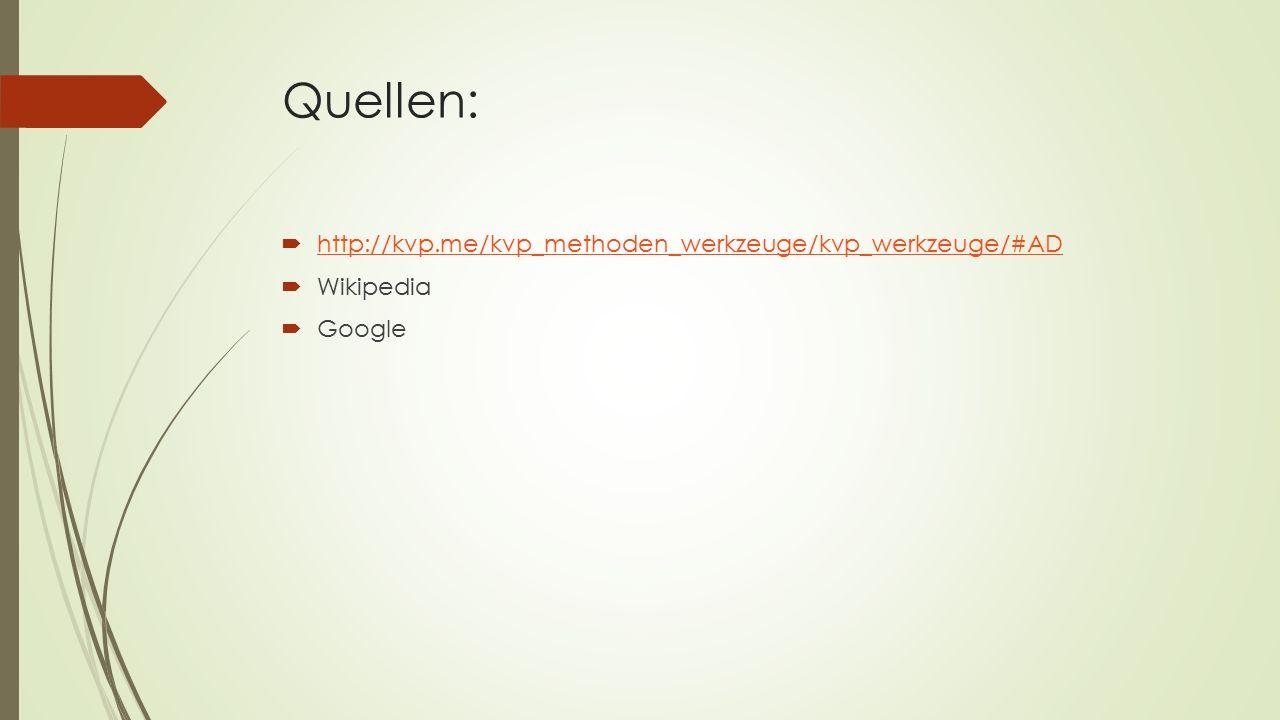 Quellen:  http://kvp.me/kvp_methoden_werkzeuge/kvp_werkzeuge/#AD http://kvp.me/kvp_methoden_werkzeuge/kvp_werkzeuge/#AD  Wikipedia  Google