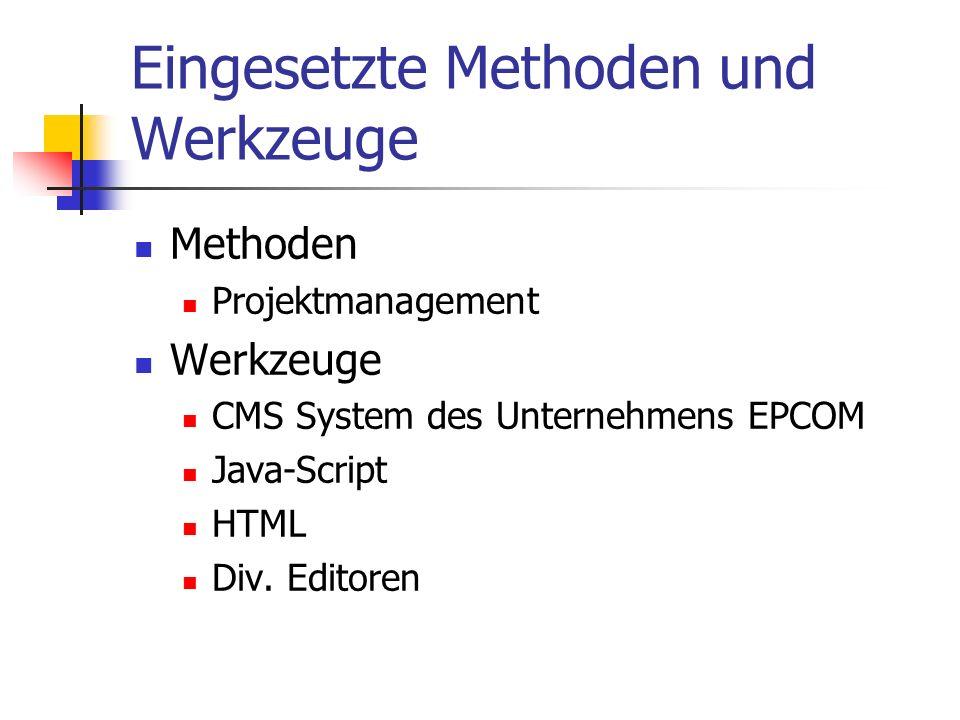 Eingesetzte Methoden und Werkzeuge Methoden Projektmanagement Werkzeuge CMS System des Unternehmens EPCOM Java-Script HTML Div.