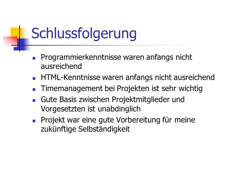 Schlussfolgerung Programmierkenntnisse waren anfangs nicht ausreichend HTML-Kenntnisse waren anfangs nicht ausreichend Timemanagement bei Projekten ist sehr wichtig Gute Basis zwischen Projektmitglieder und Vorgesetzten ist unabdinglich Projekt war eine gute Vorbereitung für meine zukünftige Selbständigkeit