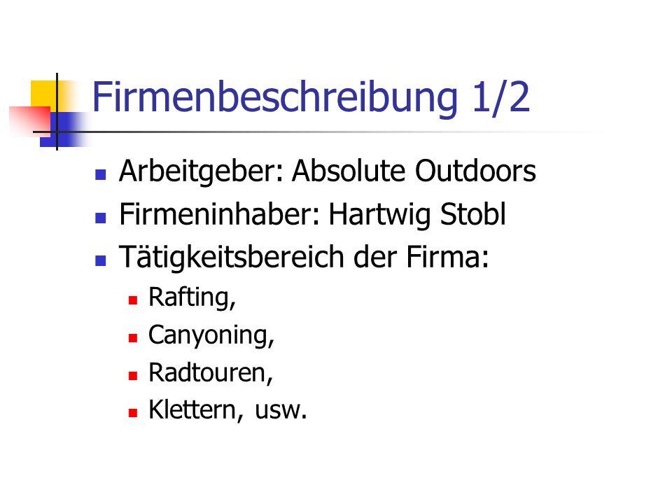 Firmenbeschreibung 1/2 Arbeitgeber: Absolute Outdoors Firmeninhaber: Hartwig Stobl Tätigkeitsbereich der Firma: Rafting, Canyoning, Radtouren, Klettern, usw.