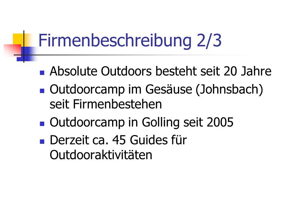 Firmenbeschreibung 2/3 Absolute Outdoors besteht seit 20 Jahre Outdoorcamp im Gesäuse (Johnsbach) seit Firmenbestehen Outdoorcamp in Golling seit 2005 Derzeit ca.